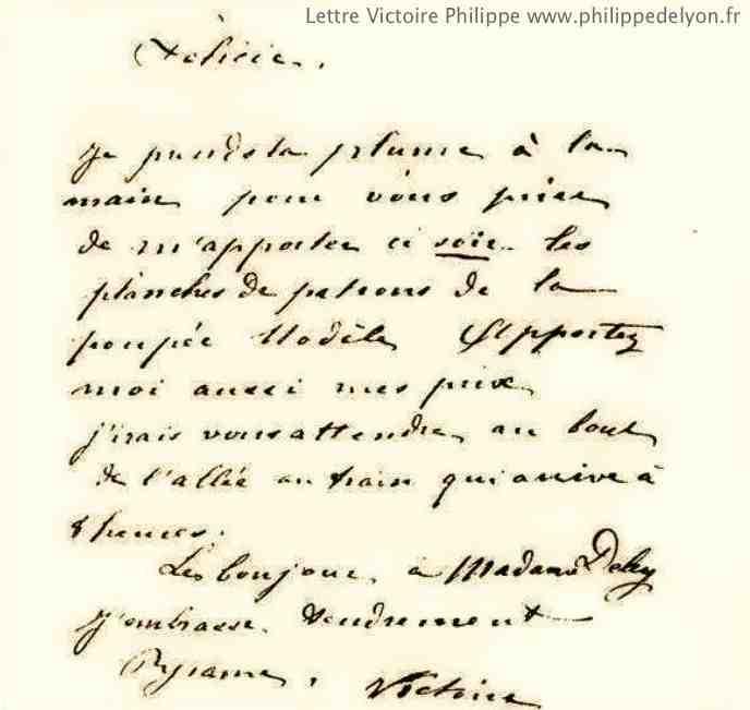 Lettre de Victoire Philippe à Felicie www.philippedelyon.fr