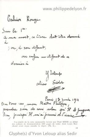 signature glyphe Sedir Yvon Le Loup site philippedelyon.fr