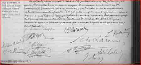 signature Philippe de Lyon fleche fils du tonnerre mariage Jeanne Marie Victoire Philippe avec Emmanuel Lalande