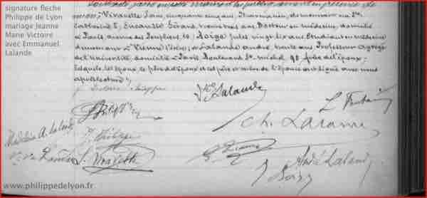site Maitre Philippe Philippe de Lyon signature Philippe de Lyon fleche fils du tonnerre mariage Jeanne Marie Victoire Philippe avec Emmanuel Lalande