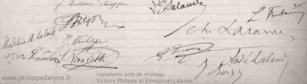 signatures mariage Victoire Philippe Emmanuel Lalande Marc Haven www.philippedelyon.fr
