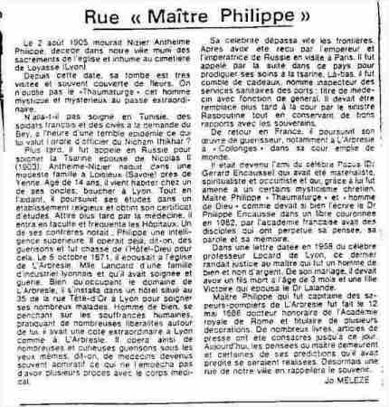 site Maitre Philippe de Lyon www.philippedelyon.fr article sur rue maitre Philippe