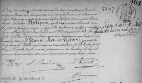 acte naissance Jeanne Marie Victoire Lalande Philippe de Lyon www.philippedelyon.fr